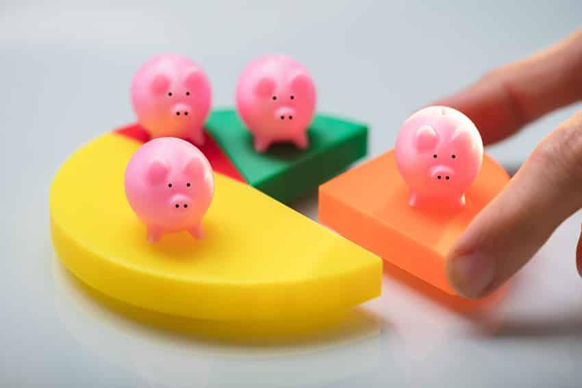 חזירונים על עוגת פלסטיק